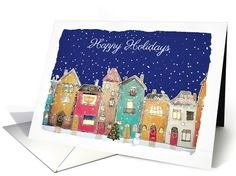 Happy Holidays, Interfaith, Chrismukkah, Townscape card