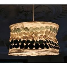 Retro Pendant Lamp Shade Hand Made Paper Lampshade Blue Dots Drum Hanging Light in Home & Garden, Lighting, Fans, Lamp Shades | eBay