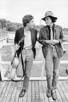 Singer songwriters Leonard Cohen and Arlo Guthrie backstage at the Newport Folk Festival in July 1967 in Newport Rhode Island