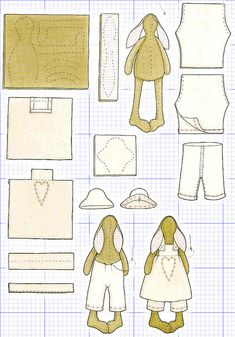 Tilda doll: Schematic assembly of parts of the pattern. How to sew a doll tilde?Tilda Bunny Pattern In Russiankrólik Tilda na Stylowi.Pattern for rabbit and clothes Sewing Crafts, Sewing Projects, Diy Crafts, Tilda Toy, Fabric Animals, Fabric Toys, Sewing Dolls, Soft Dolls, Stuffed Animal Patterns