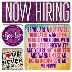 Now Hiring! If you are a motivated, dedicated & an open-minded individual with a go-getter mentality and you're not a quitter and wanna make an extra income, contact me now about joining my Scentsy team! Scentsy Australia, Join Scentsy, Scentsy Bar, Scentsy Independent Consultant, Wax Warmers, Go Getter, Be Your Own Boss, A Team, Extra Money