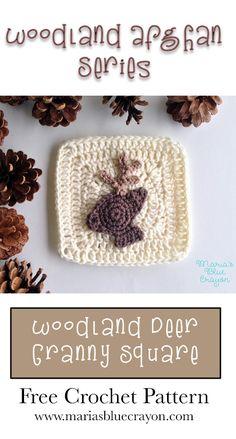 Woodland Deer Granny Square | Woodland Afghan Series | Free Crochet Pattern