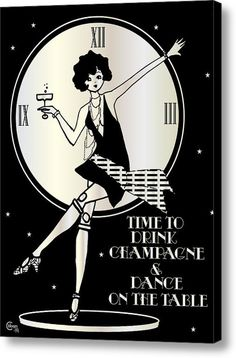 Time To Drink Champagne And Dance On The Table 1920s Gatsby Flapper Girl (in Silver And Black) / Stretched Canvas Print / Canvas Art By Cecely Bloom
