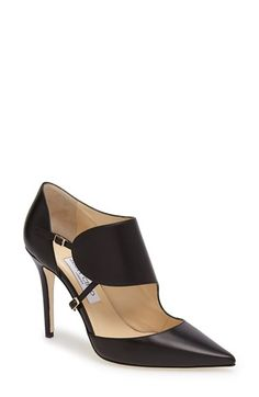 Jimmy Choo 'Heath' Pointy Toe Leather Pump. An always-chic d'Orsay pump gets an avant-garde update with a bold shield strap designed to flatter the natural curves of the foot.