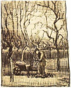 Gardener with a Wheelbarrow by Vincent van Gogh  Letter Sketches,   Nuenen: January - early in month, 1884