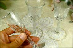 Set of 3 Decorative Fancy Etched Glass Stemmed by TinyandBeautiful