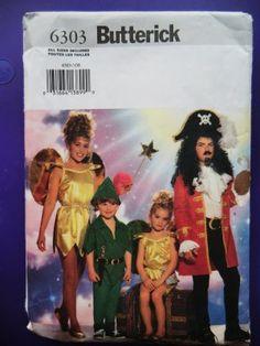 Butterick Pattern # 6303 UNCUT Childs Peter Pan Captian Hook Tinker Bell Costume Size Small Medium Large