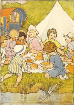 1930's Children's Print By SB Pearse Group Of Children Having ...