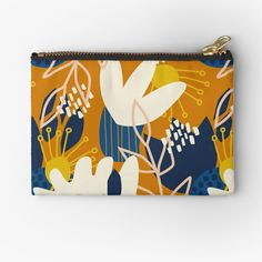 'Abstract Floral - Blue + Orange' Zipper Pouch by latheandquill Zipper Bags, Zipper Pouch, School Pens, Colorful Candy, Pencil Bags, Candy Bags, Pen Art, Small Bags, Gifts For Family