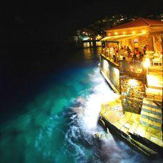 Night Bar by the Sea in Hydra island - GREECE