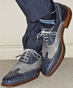 Details about Handmade Men two tone wing tip brogue formal s.- Handmade Men two tone wing tip brogue formal shoes Men Blue and gray dress shoes - Ron White Shoes, Blue Shoes, Men's Shoes, Shoe Boots, Shoes Men, Suede Shoes, Blue Loafers, Dance Shoes, Shoes Style