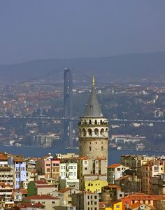 Galata Tower and Bosphorus Bridge-İstanbul