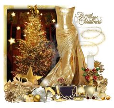 """""""Have a Golden, Metallic Christmas!"""" by helenehrenhofer ❤ liked on Polyvore featuring Trilogy, Lulu Guinness, Giuseppe Zanotti, Gemvara and Erica Courtney"""