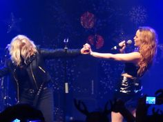 Love this shot! Aunty and Niece having so much fun on stage!   Kim Wilde performs at the Kim Wilde Christmas Party live at the Coronet in London (18-12-15) Photo © Daniel Porter 2015.  All rights reserved. @MrDanielPorter www.MrDanielPorter.com #KimWilde #ScarlettWilde