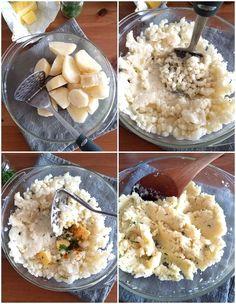 Preparación de la base de puré de papas Cilantro, Mashed Potatoes, Cheesecake, Food And Drink, Base, Ethnic Recipes, Gastronomia, Whipped Potatoes, Smash Potatoes