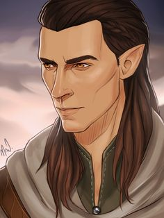 "mimikoflamemaker: "" Look at this and melt into the puddle of goo with me *_*… This perfect portrait of Galaren was drawn for me by the insanely talented @cocotingo. My baby looks a little mean here beside being serious which is just as it should have..."