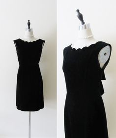 Vintage 1960's Party Dress / Black Velvet Wiggle Dress / Sleeveless COUTURE Formal Cocktail Dress Designer ELINOR GAY