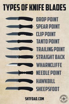 The shape of the blade plays a major role in a knife's efficiency. Choose the wrong blade, and even easy tasks will become difficult. Survival Life Hacks, Survival Tips, Survival Skills, Types Of Swords, Types Of Knives, Pretty Knives, Cool Knives, Swords And Daggers, Knives And Swords