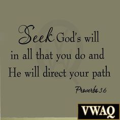 Seek God's Will in All That You Do Proverbs 3:6 Bible Wall Decal Scripture Quote #God