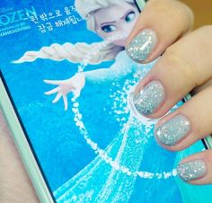 Frozen Elsa nails -- winter -- snow