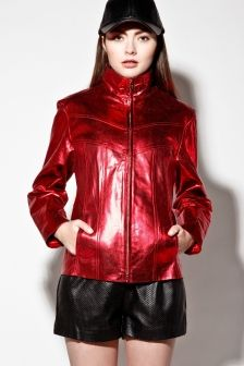 Vintage 90s Metallic Red Wilson's Leather Track Jacket http://thriftedandmodern.com/vintage-90s-wilsons-leather-metallic-red-track-jacket