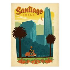 Santiago by Anderson Design Group Vintage Advertisement Wrapped on Canvas Americanflat Size: 30 cm H x 20 cm W Retro Poster, Poster S, Poster Vintage, Vintage Travel Posters, Painting Prints, Canvas Prints, Up Book, Art Original, Vintage Advertisements