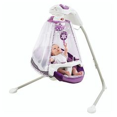 """$219.99 Fisher Price Sugar Plum Starlight Cradle 'n Swing - Fisher-Price - Babies""""R""""Us-The comfy-cozy seat and head support cradle baby in cushy comfort as she swings in a side-to-side or front-to-back swinging motion. A sweet little canopy surrounds baby and sways along with the swing motion while 8 delightful songs entertain. Baby can also watch fun shapes float all around as they spin overhead."""