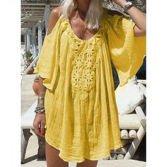 2019 New Summer Bohemian Dress Pure Color Lace Stitching Loose Casual Dress Short Sleeved Chiffon Lace Beach Dress Women Color WHITE Size S Bohemian Summer Dresses, Beach Dresses, Short Sleeve Dresses, Dresses With Sleeves, Stitching Dresses, Vacation Dresses, Fashion Seasons, Mom Outfits, Casual Outfits