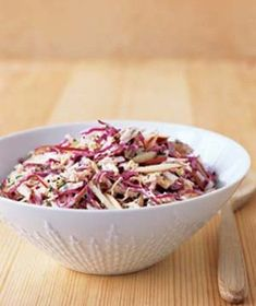 Cabbage and Apple Slaw Recipe | Real Simple. I use vegannaise.