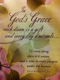 In God's Grace each dawn is a gift and every day is a miracle.