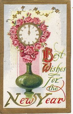 Best wishes (and oodles of pretty pink roses) for the New Year! #vintage #cards #holidays #New_Years