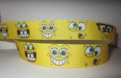 "GROSGRAIN SPONGEBOB SQUARE PANTS 7/8"" INCH RIBBON *YOUR CHOICE 1,3 or 5 YARDS"