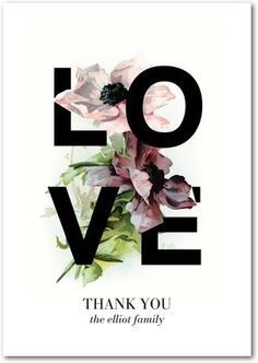 Gorgeous Love - Signature White Thank You Cards - Baumbirdy - Black | www.WeddingPaperDivas.com