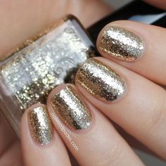 """Isn't it cool? 3 coats of """"PayDay"""" gives you a foil/chrome effect and smooth finish! Swatch by the sweet lady @nailescapades ❤️ Thank you Malene! Available at www.funlacquer.com.  Check out the blog! http://www.nailescapades.com/2014/07/fun-lacquer-luxury-duo.html?m=1"""