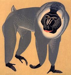 Belle Baranceanu (American, 1902-1988), Drill Baboon, between 1930-1960. linocut