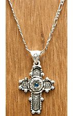 Montana Silversmiths Silver Antiqued Flower Cross with Blue Stone Necklace