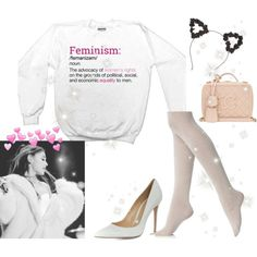 ♡ Ariana Grande Cozy Feminist Look ♡ ☁️ by kaylalovesowls on Polyvore featuring Fogal, Gianvito Rossi and Chanel
