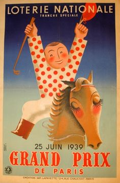 Loterie Nationale Horse Racing, 1939 - original vintage poster by Derouet…