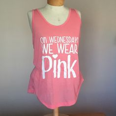 """🆕 On Wednesdays We Wear Pink tank. Size large 🆕On Wednesdays We Wear Pink tank. Size large (top is old navy) writing was customized.  27"""" long Tops Tank Tops"""