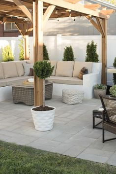 How to Install A Custom Paver Patio - Room for Tuesday Backyard Seating, Pergola Patio, Backyard Patio, Flagstone Patio, Outdoor Seating, Cement Patio, Patio Privacy, Patio Bench, Modern Pergola