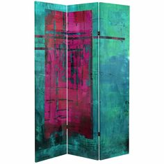 Red Lantern Printed Canvas Fabric Folding Indoor Privacy Screen at Lowe's. Make a statement with this bold and vibrant room divider. Bright magenta and blue-greens add color and energy to each room that it occupies. Canvas Fabric, Canvas Prints, 4 Panel Room Divider, Oriental Furniture, Red Lantern, Green Fabric, Magenta, Lanterns, Painting