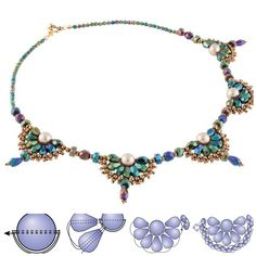 Free Victorian Fan Beaded Necklace Pattern from InmCrystal.com featured in recent Bead-Patterns.com Newsletter!
