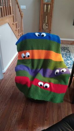 Ninja Turtle afghan Pattern found on Ravelry http://www.ravelry.com/projects/kathy862/teenage-mutant-ninja-turtle-blanket