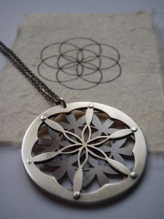Double Layer Flower of Life Pendant  by JeanBurgersJewellery, $260.00