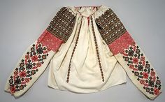 Romanian Blouse Date: early century Culture: Romanian Medium: cotton, metal, glass Dimensions: Length at CB: 23 in. cm) Credit Line: Gift of Gregoire Cavafu in memory of his mother Armenouhi Edirnelian-Cavafu, Romania, 1986 Accession Number: Mode Alternative, Folk Embroidery, Embroidery Patterns, Costume Institute, Textiles, Folk Costume, Historical Clothing, Patch, Traditional Outfits