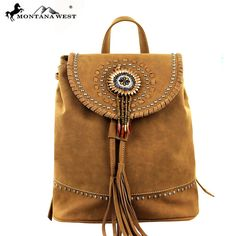 Montana West Concho Collection Backpack Brown