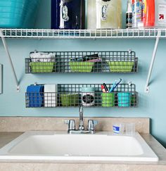 Need that in my laundry room! IHeart Organizing: Reader Raid: Lovin' Some Teal & Lime! Laundry Room Sink, Laundry Room Organization, Laundry Supplies, Cleaning Supplies, Baskets On Wall, Wire Baskets, Organizing Your Home, Organizing Ideas, Small Laundry