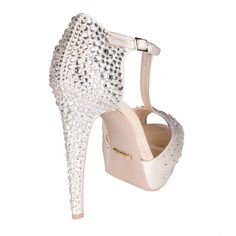 Chalk silk #open-toe #shoe entirely covered in micro and macro #crystal beads. #wedding
