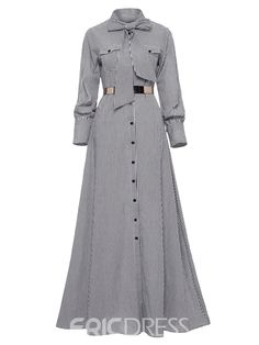 Please allow size difference. Women Striped Maxi Dress Floor-length Bowknot Tie Long Sleeve Loose Button Dress Spring Pocket Elegant A-line Casual Long Dress (Notice:Not included the belt) Long Fall Dresses, Casual Dresses, Fashion Dresses, Stylish Dresses, Dress Long, Striped Shirt Dress, Striped Maxi Dresses, Muslim Dress, Mode Hijab