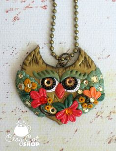 'Cobriza' Fall Owl with Flowers Polymer Clay Owl Pendant by ClayCatShop